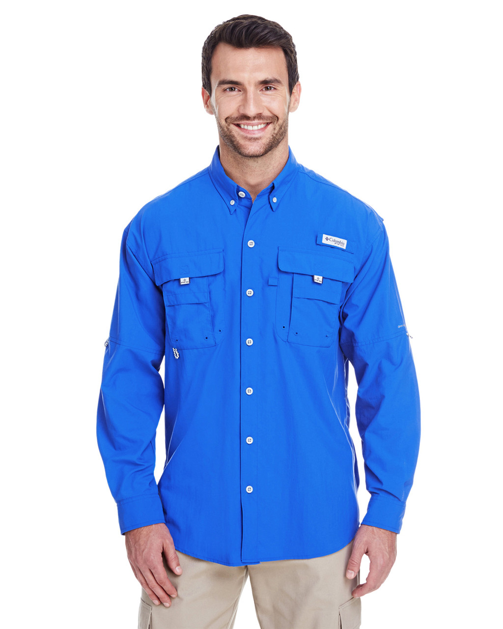 Vivid Blue -  7048 Columbia Men's Bahama™ II Long-Sleeve Shirt | BlankCLothing.ca