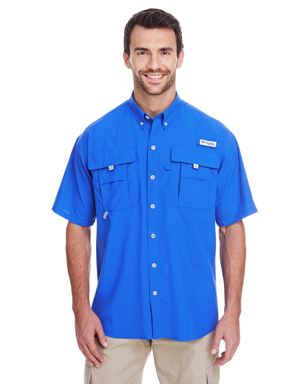 Vivid Blue - 7047 Columbia Men's Bahama™ II Short-Sleeve Shirt | BlankClothing.ca