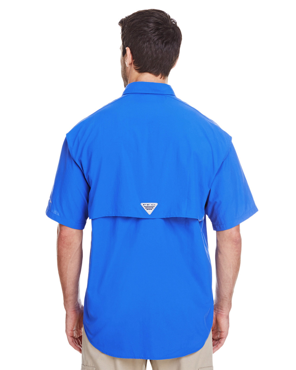 Vivid Blue, Back - 7047 Columbia Men's Bahama™ II Short-Sleeve Shirt | BlankClothing.ca