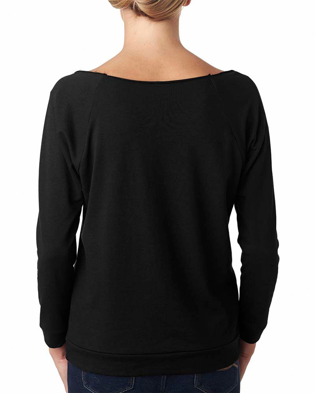 Black, Back - 6951 Next Level Ladies' French Terry Raw-Edge 3/4-Sleeve Raglan Shirt  | BlankClothing.ca