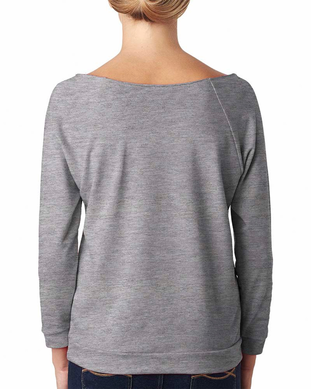 Heather Grey, Back - 6951 Next Level Ladies' French Terry Raw-Edge 3/4-Sleeve Raglan Shirt  | BlankClothing.ca