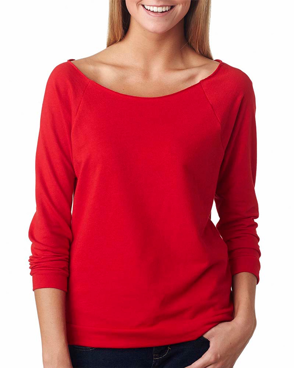 Red - 6951 Next Level Ladies' French Terry Raw-Edge 3/4-Sleeve Raglan Shirt  | BlankClothing.ca