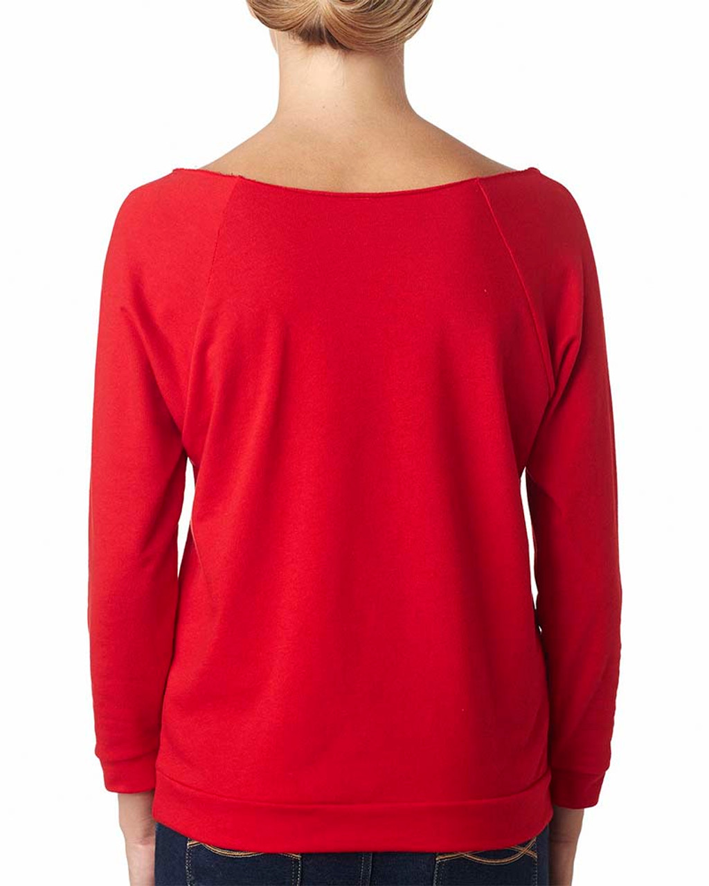 Red, Back - 6951 Next Level Ladies' French Terry Raw-Edge 3/4-Sleeve Raglan Shirt  | BlankClothing.ca