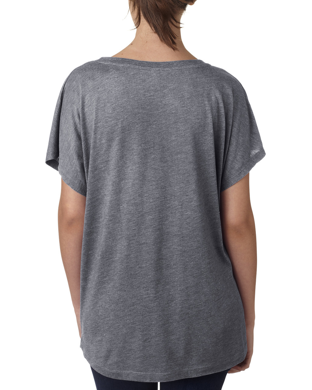 Premium Heather, Back -  6760 Next Level Ladies' Triblend Dolman Shirt | BlankClothing.ca
