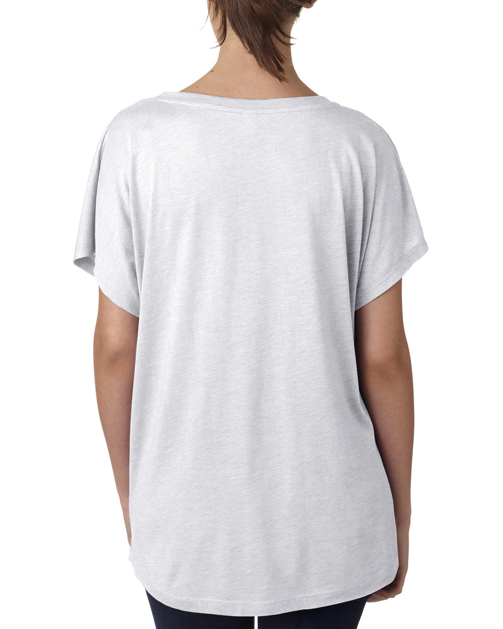 Heather White, Back -  6760 Next Level Ladies' Triblend Dolman Shirt | BlankClothing.ca