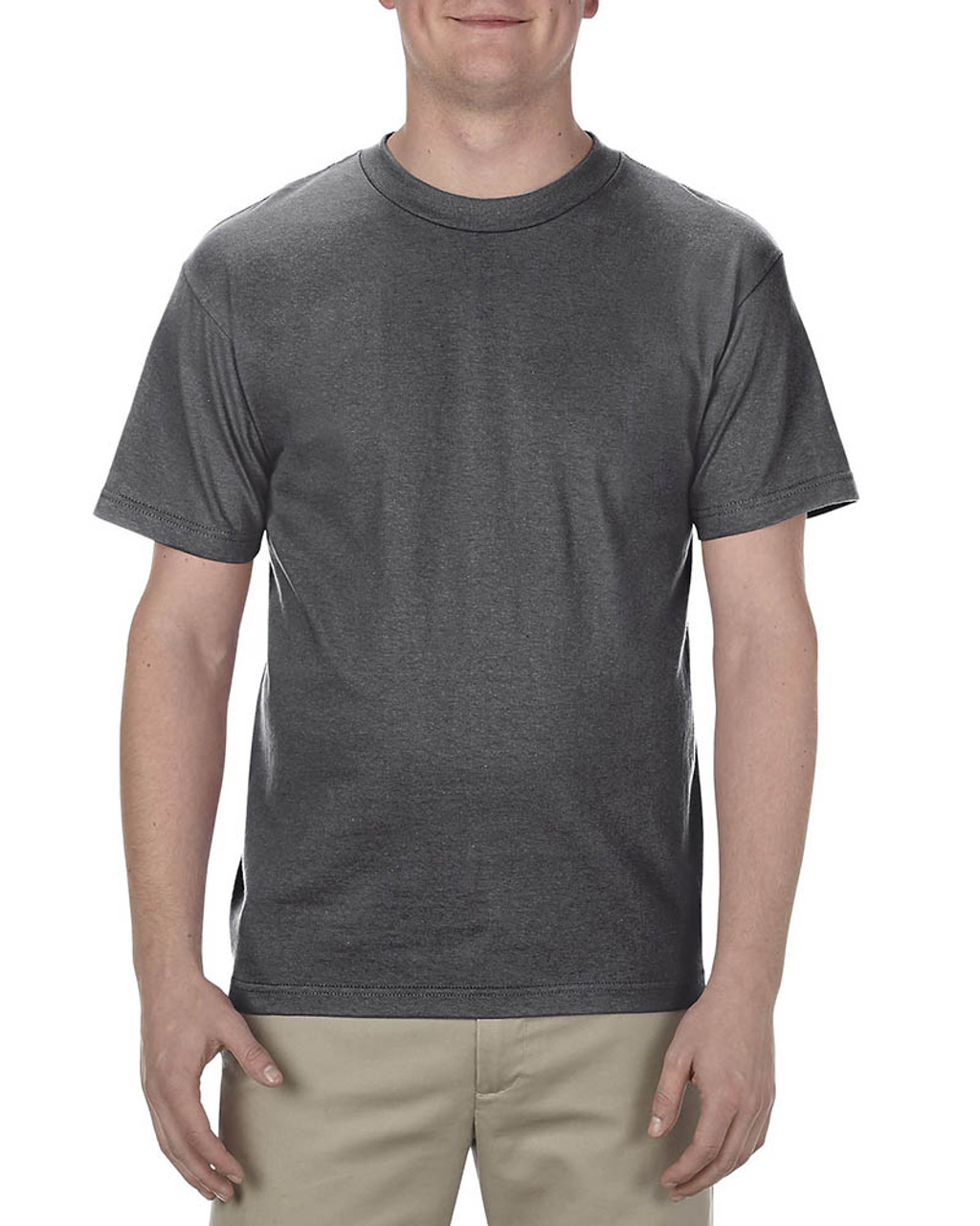 Charcoal Heather - AL1301 Alstyle Adult 6.0 oz., 100% Cotton T-Shirt   BlankClothing.ca