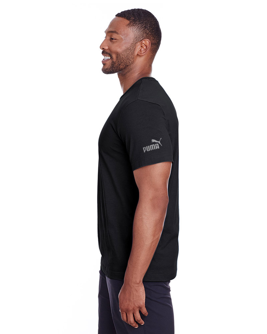 Puma Black/Quiet Shade - side, 582006 Puma Sport Essential Adult Logo T-Shirt | BlankClothing