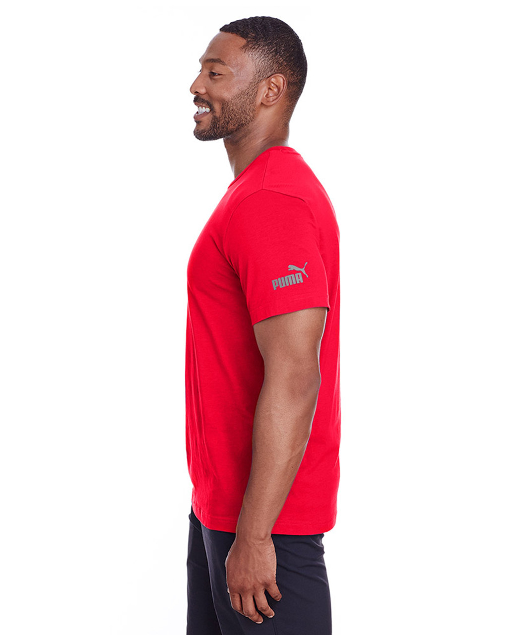 High Risk Red/Quiet Shade - side, 582006 Puma Sport Essential Adult Logo T-Shirt | BlankClothing