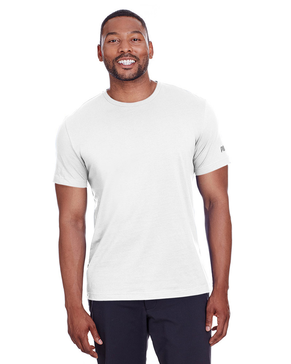 Puma White/Quiet Shade - 582006 Puma Sport Essential Adult Logo T-Shirt | BlankClothing