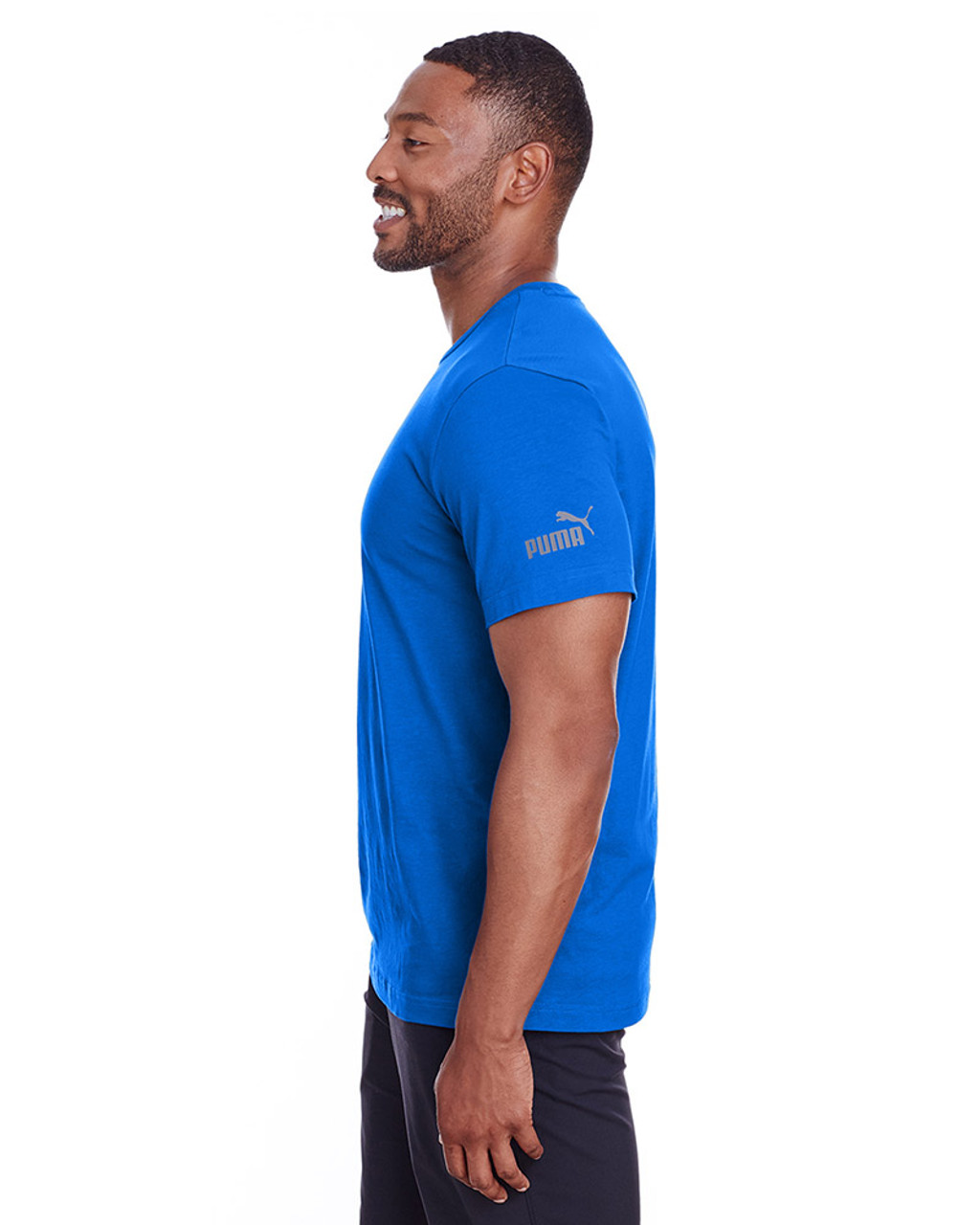 Lapis Blue/Quiet Shade - side, 582006 Puma Sport Essential Adult Logo T-Shirt | BlankClothing
