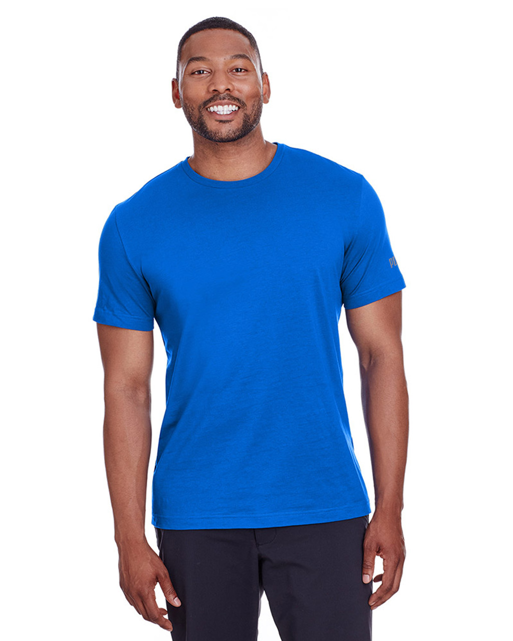 Lapis Blue/Quiet Shade - 582006 Puma Sport Essential Adult Logo T-Shirt | BlankClothing