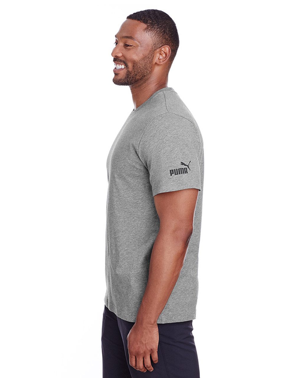 Midnight Grey Heather/Puma Black - side, 582006 Puma Sport Essential Adult Logo T-Shirt | BlankClothing