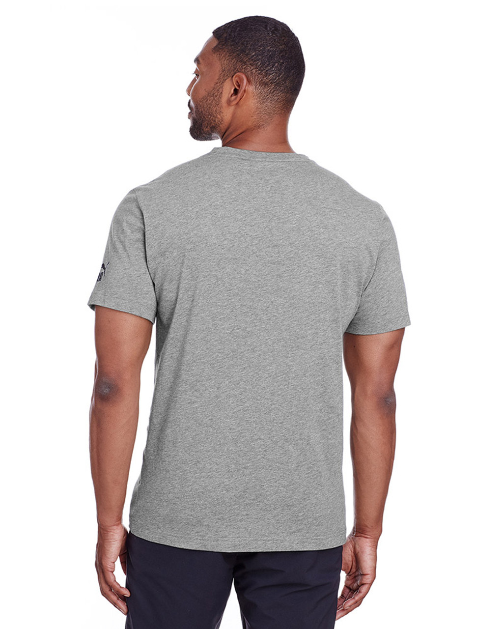 Midnight Grey Heather/Puma Black - back, 582006 Puma Sport Essential Adult Logo T-Shirt | BlankClothing