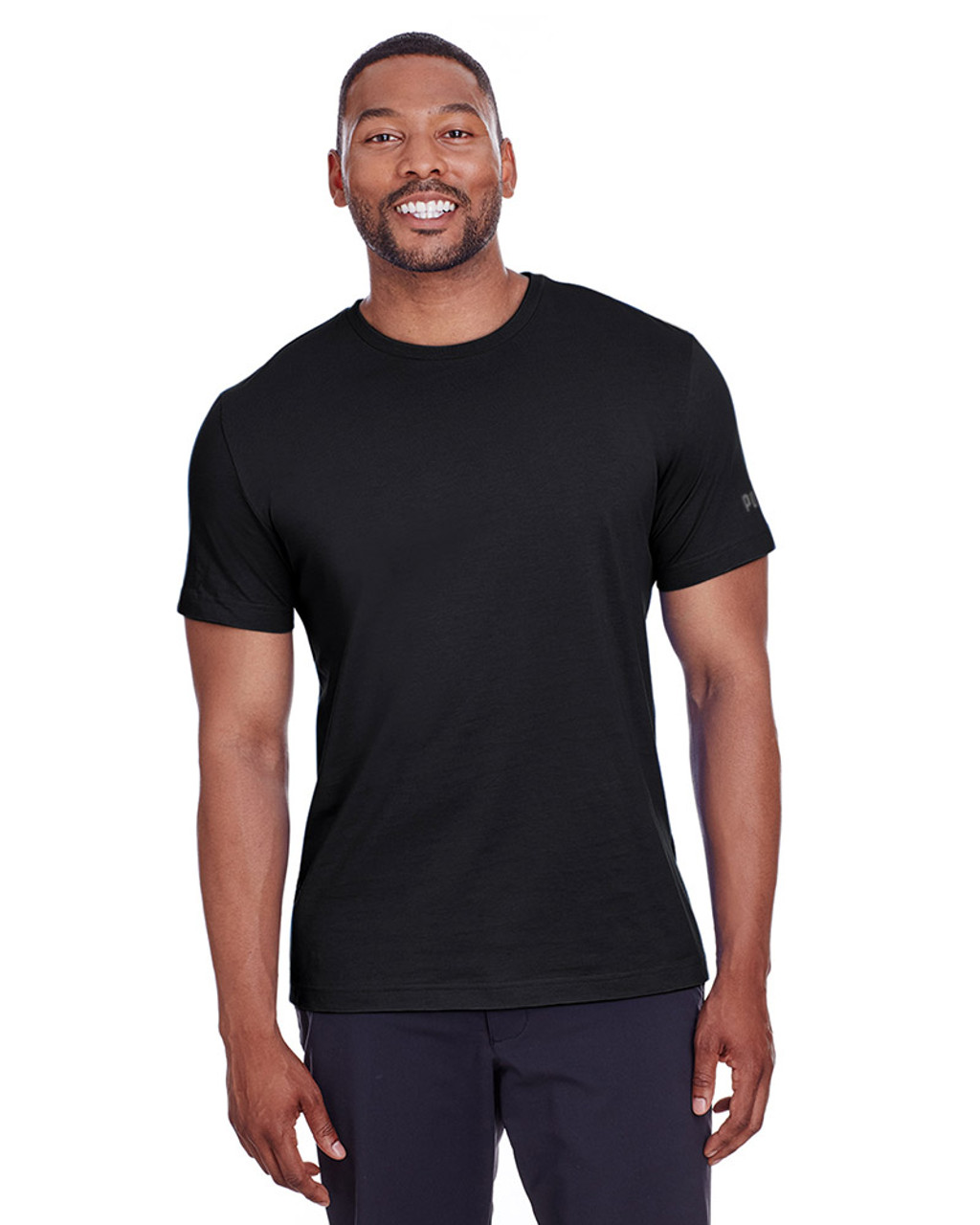 Puma Black/Quiet Shade - 582006 Puma Sport Essential Adult Logo T-Shirt | BlankClothing