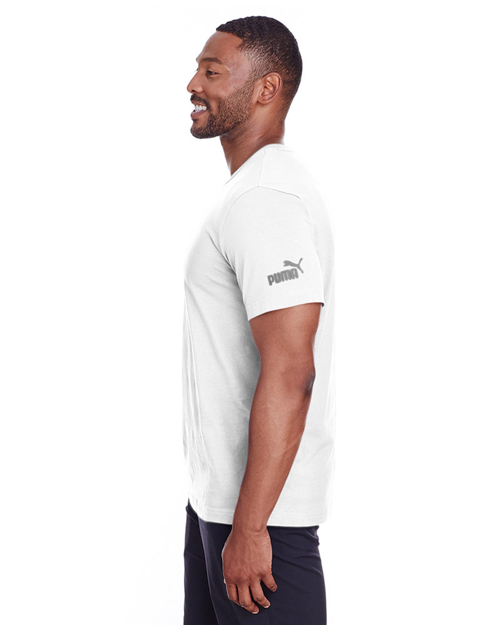 Puma White/Quiet Shade - side, 582006 Puma Sport Essential Adult Logo T-Shirt | BlankClothing