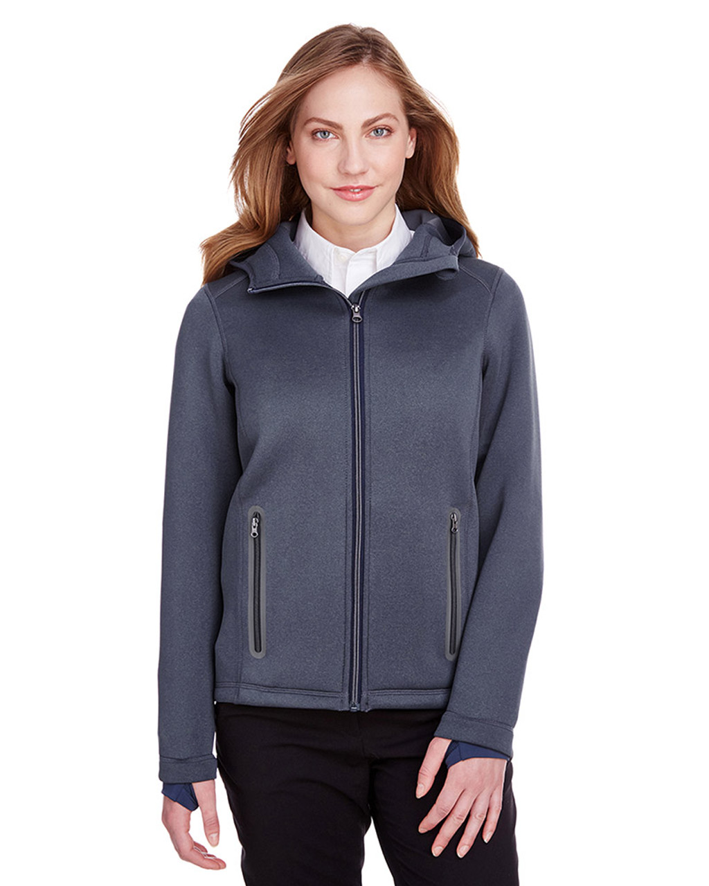 Classic Navy Heather/Carbon - NE707W Ash City - North End Ladies' Paramount Bonded Knit Jacket | Blankclothing.ca