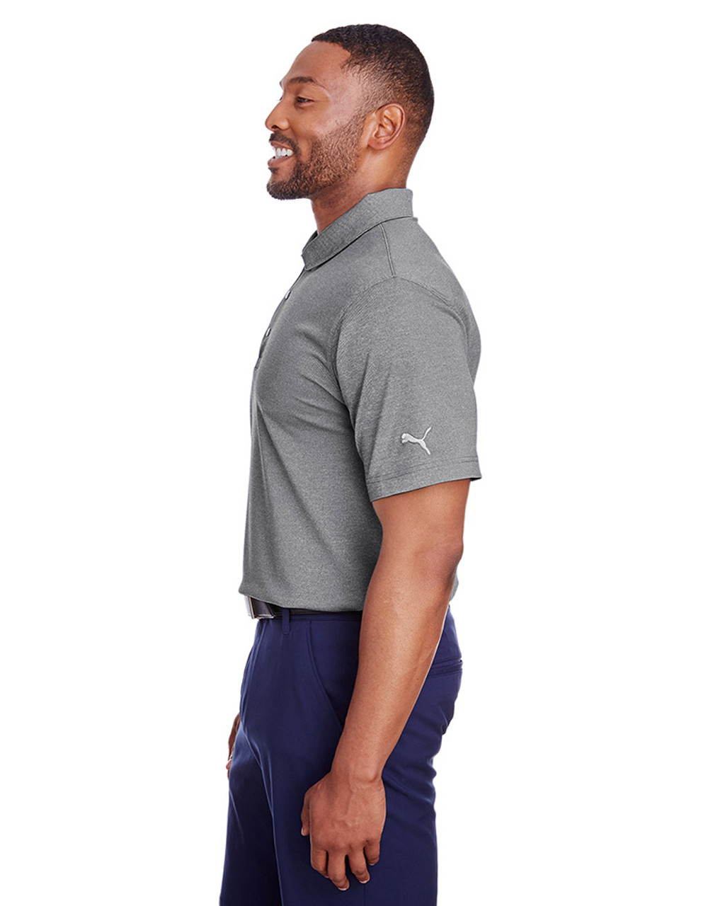 Puma Black Heather - side, 597220 Puma Golf Men's Grill-To-Green Polo | Blankclothing.ca