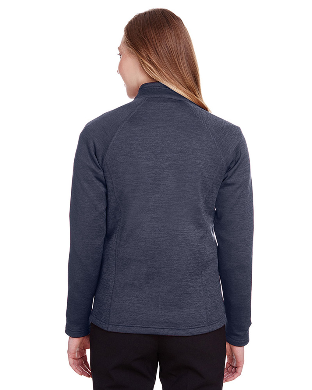 Classic Navy Heather/Carbon - back, NE712W Ash City - North End Ladies Flux 2.0 Full-Zip Jacket   Blankclothing.ca