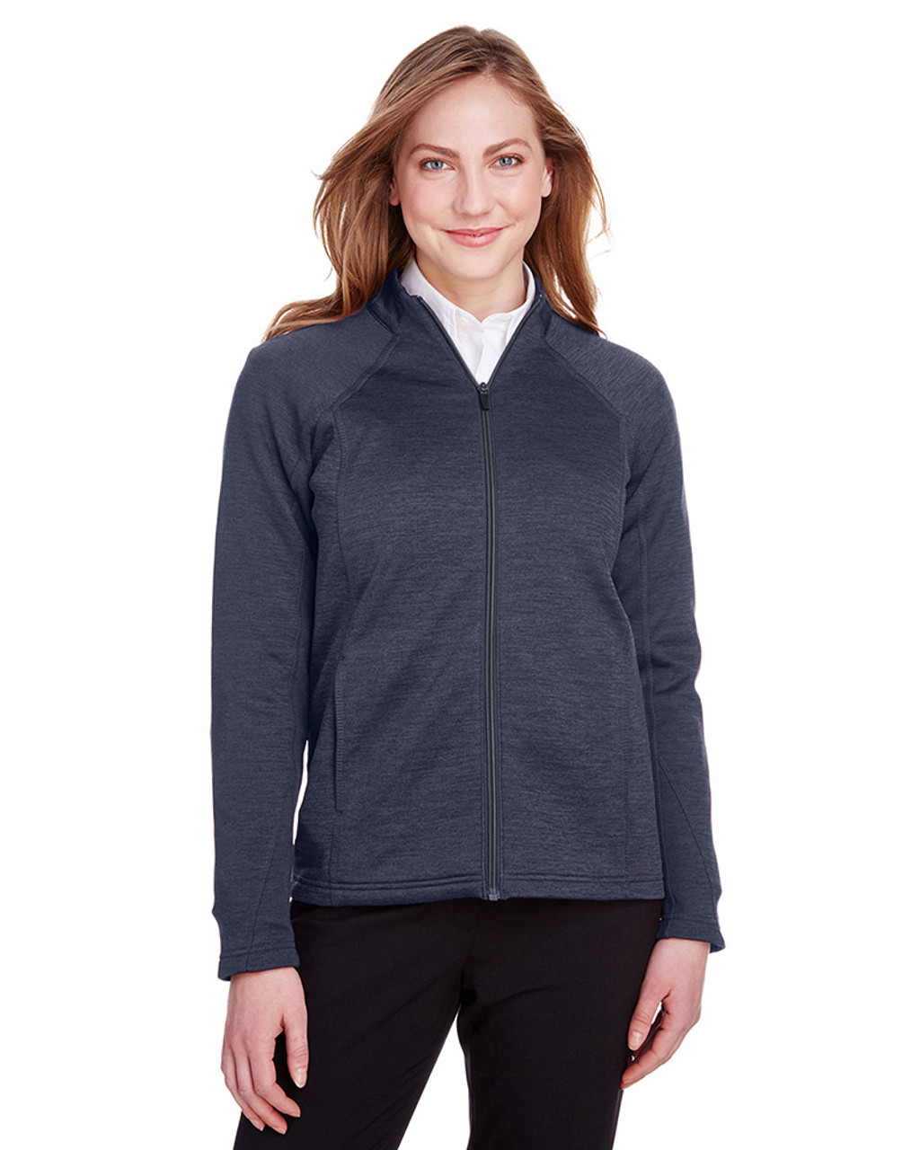 Classic Navy Heather/Carbon - NE712W Ash City - North End Ladies Flux 2.0 Full-Zip Jacket   Blankclothing.ca