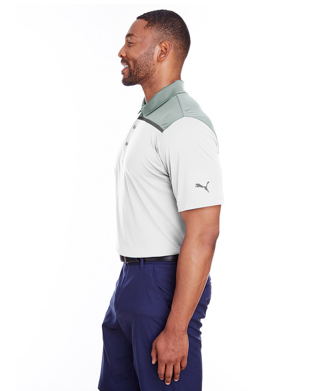 Bright White/Qurry - side, 596805 Puma Golf Men's Bonded Colorblock Polo | Blankclothing.ca