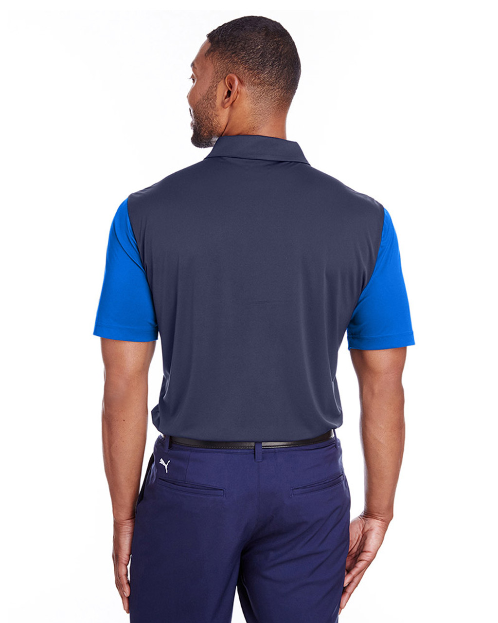 Lapis Blue/Peacoat - back, 596805 Puma Golf Men's Bonded Colorblock Polo | Blankclothing.ca