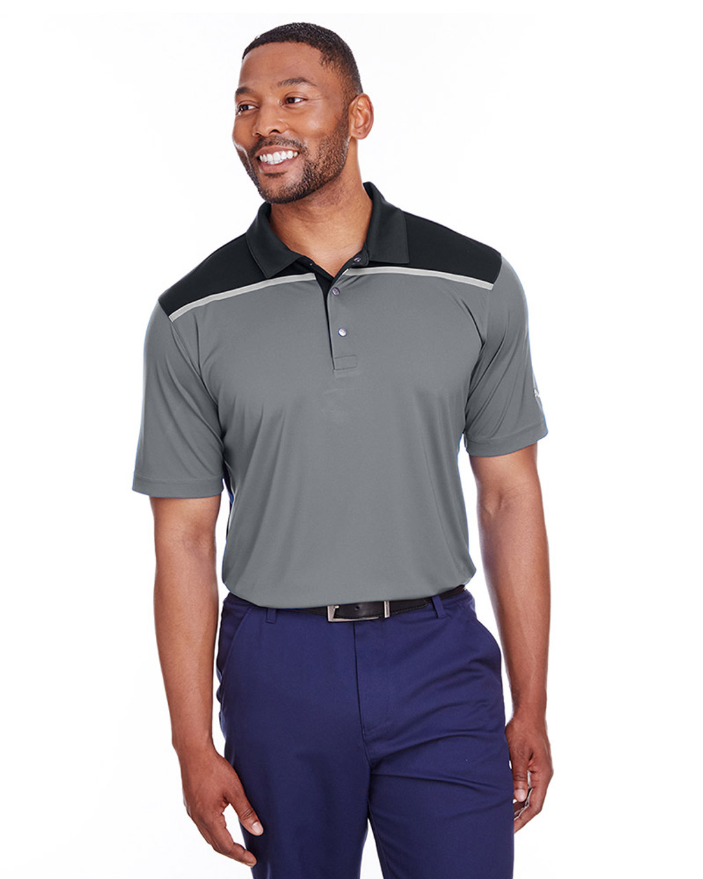 Quiet Shade/Puma Black - 596805 Puma Golf Men's Bonded Colorblock Polo | Blankclothing.ca