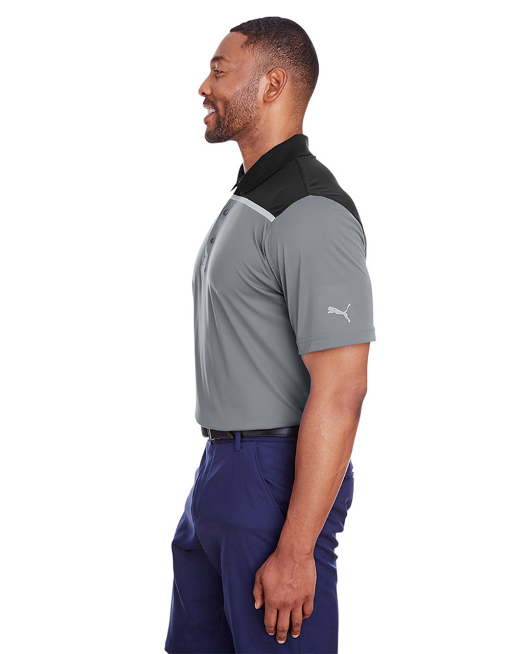 Quiet Shade/Puma Black - side, 596805 Puma Golf Men's Bonded Colorblock Polo | Blankclothing.ca