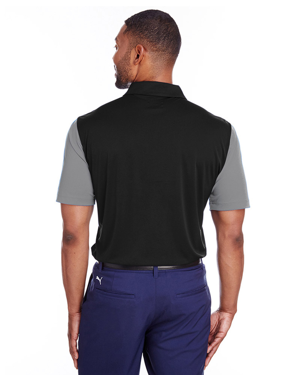 Quiet Shade/Puma Black - back, 596805 Puma Golf Men's Bonded Colorblock Polo | Blankclothing.ca