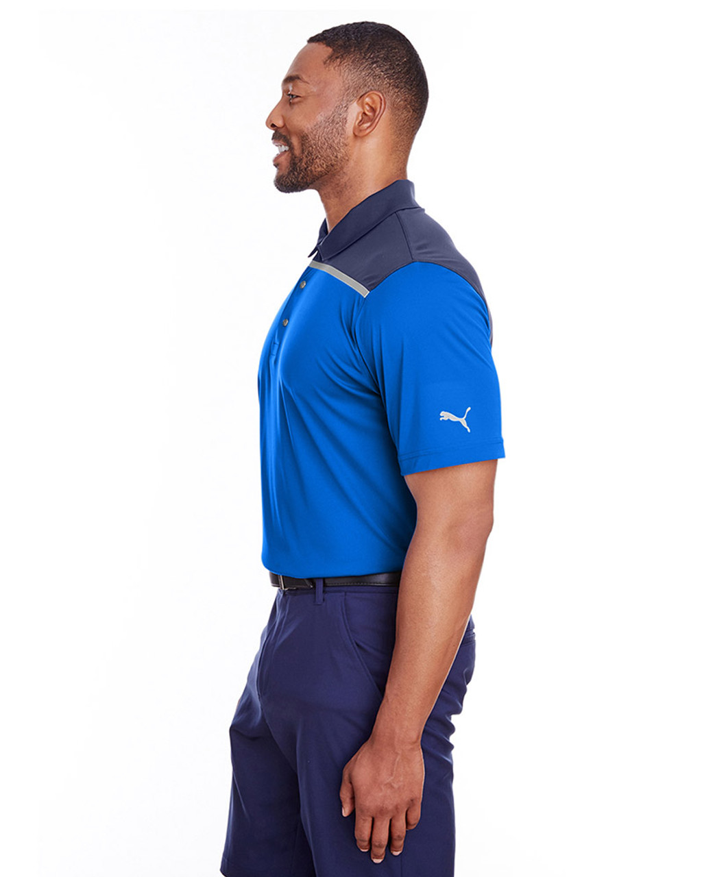 Lapis Blue/Peacoat - side, 596805 Puma Golf Men's Bonded Colorblock Polo | Blankclothing.ca