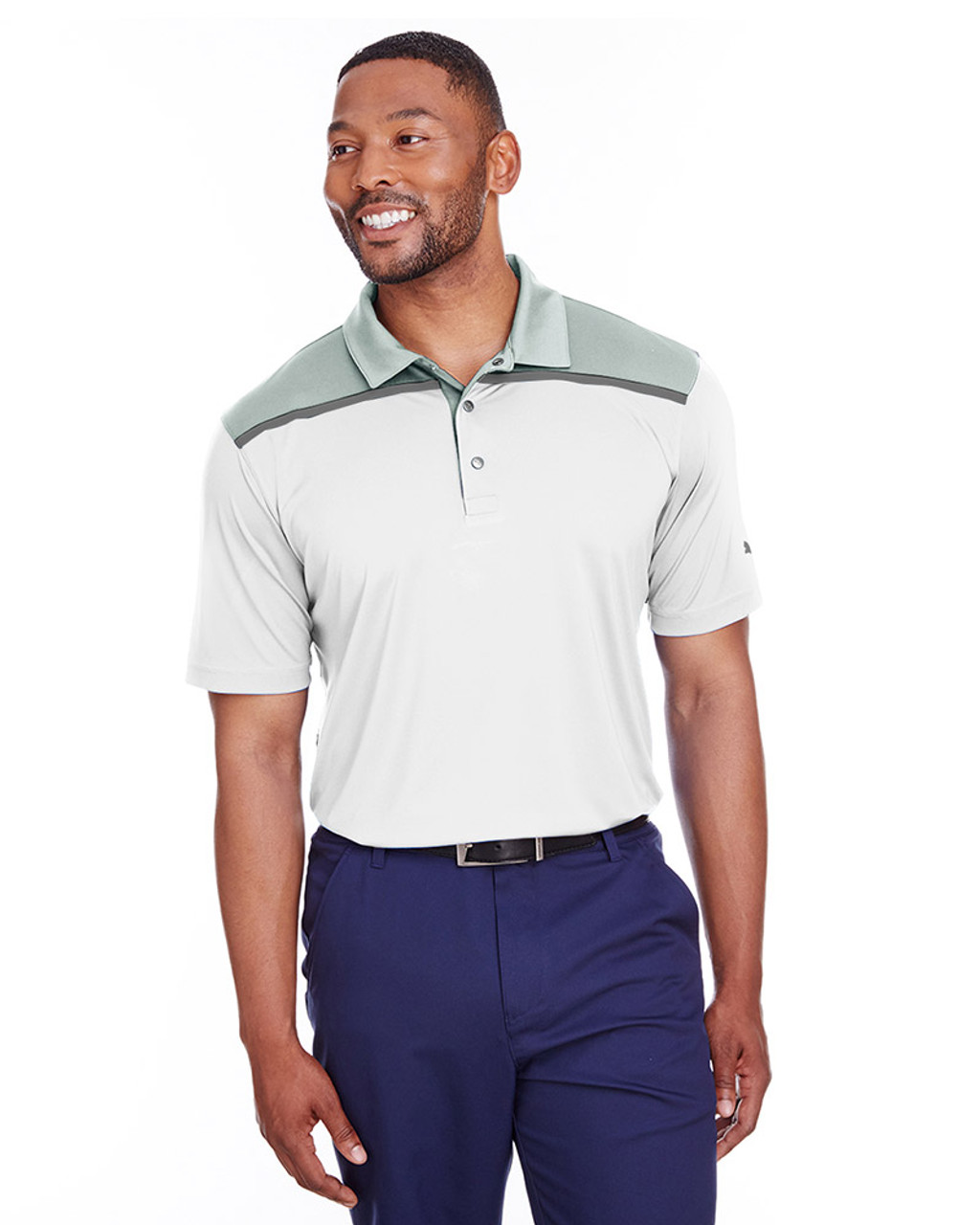 Bright White/Qurry - 596805 Puma Golf Men's Bonded Colorblock Polo | Blankclothing.ca