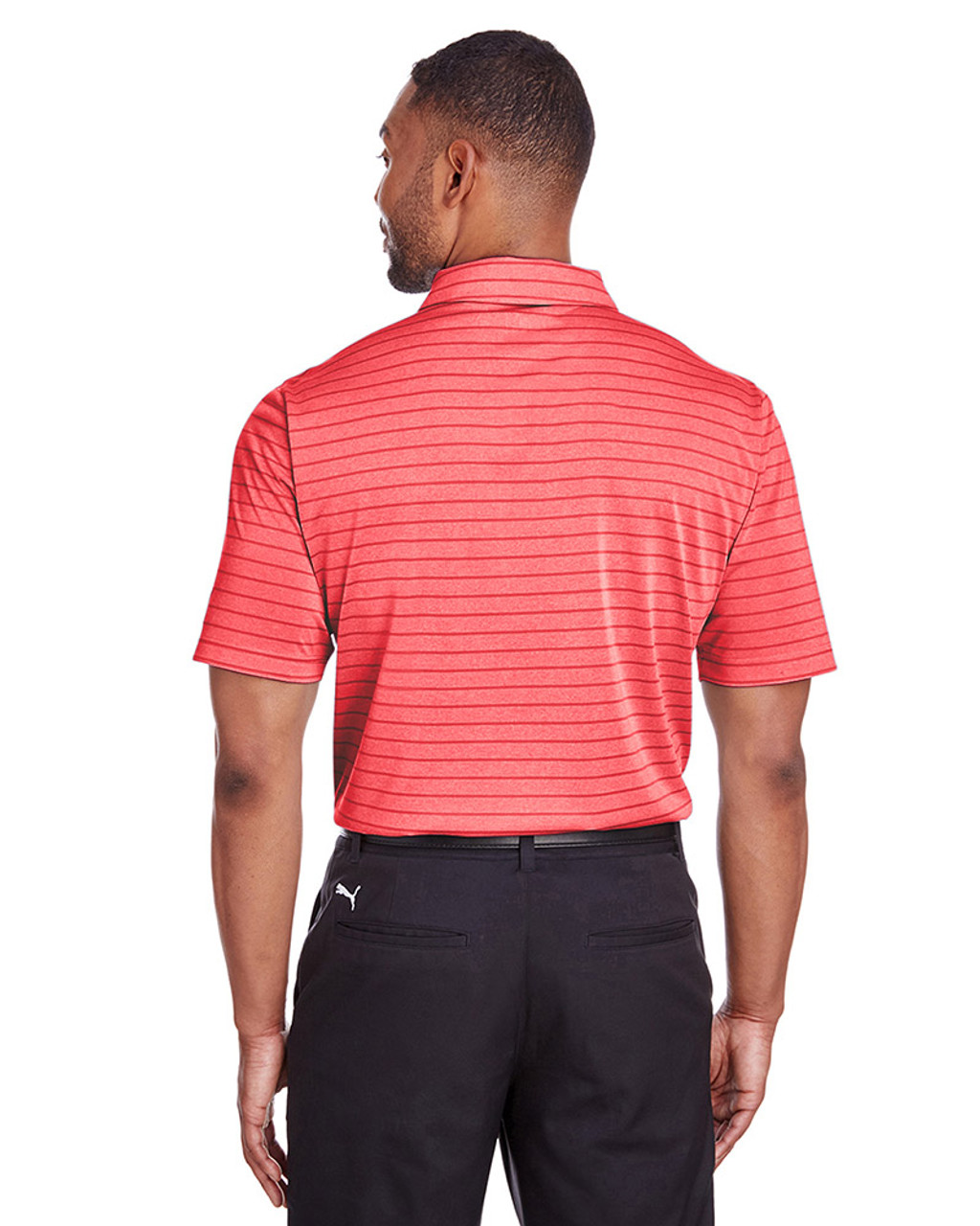 High Risk Red - back, 597223 Puma Golf Men's Rotation Stripe Polo | Blankclothing.ca