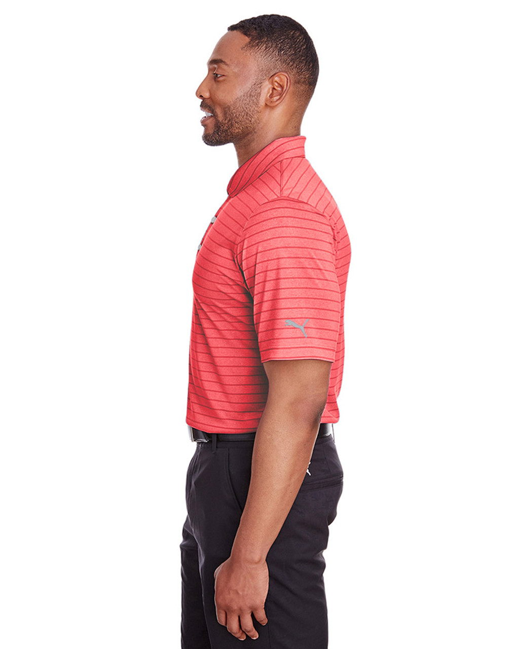 High Risk Red - side, 597223 Puma Golf Men's Rotation Stripe Polo | Blankclothing.ca