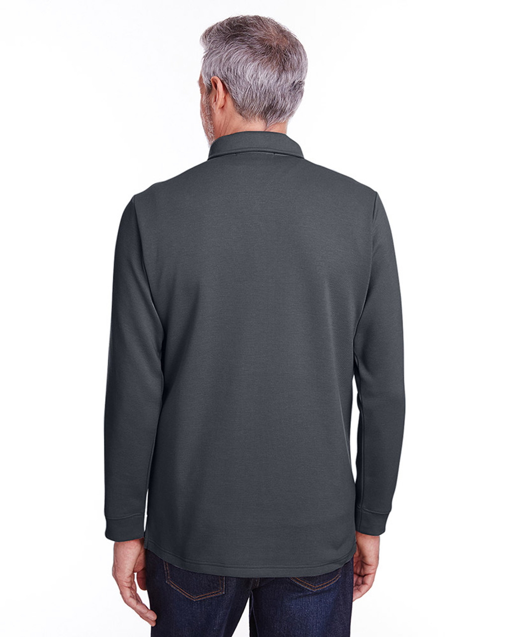 Dark Charcoal - back, M709 Harriton Adult StainBloc™ Pique Fleece Pullover Jacket | Blankclothing.ca