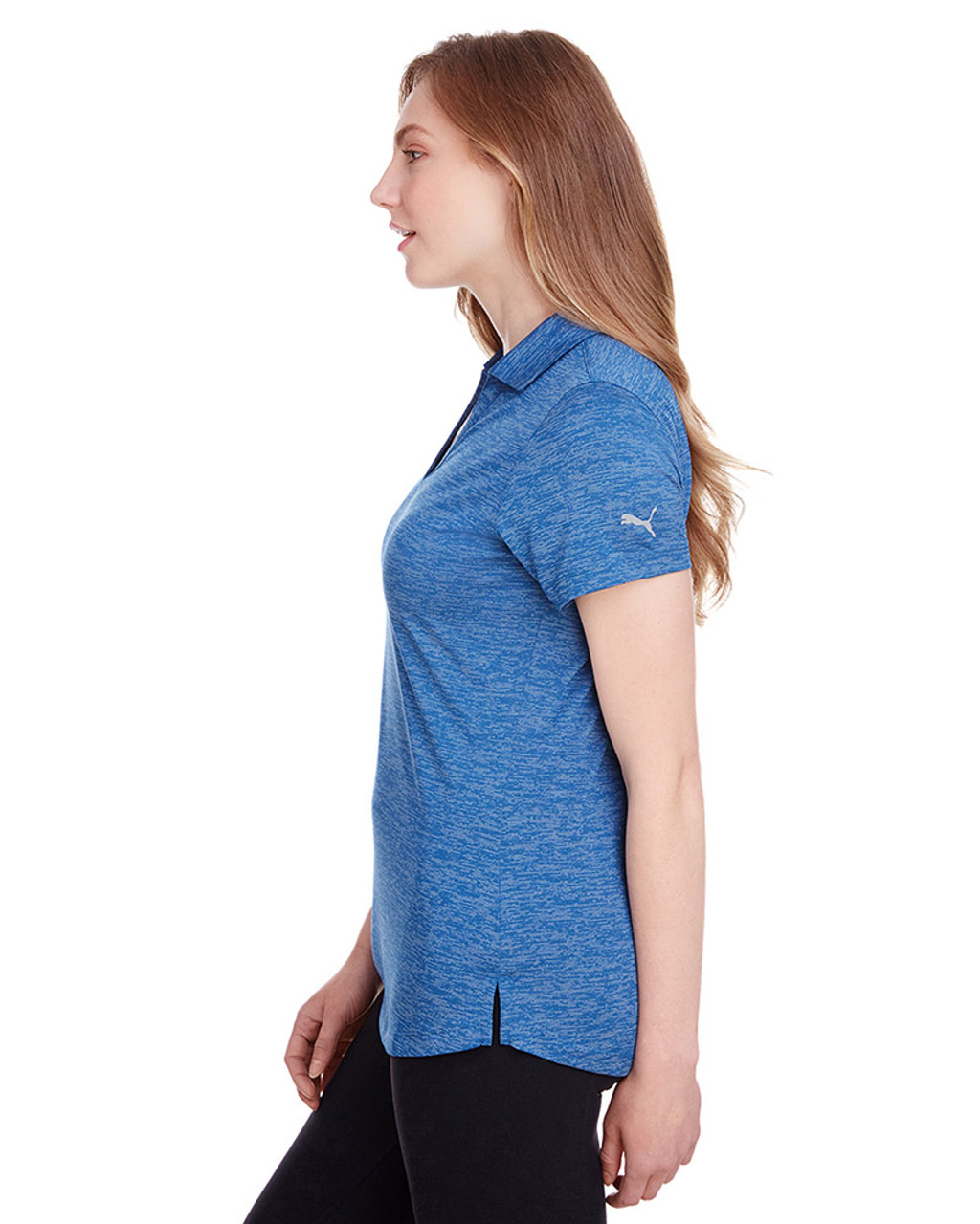 Lapis Blue - side, 596802 Puma Golf Ladies' Icon Heather Polo | Blankclothing.ca