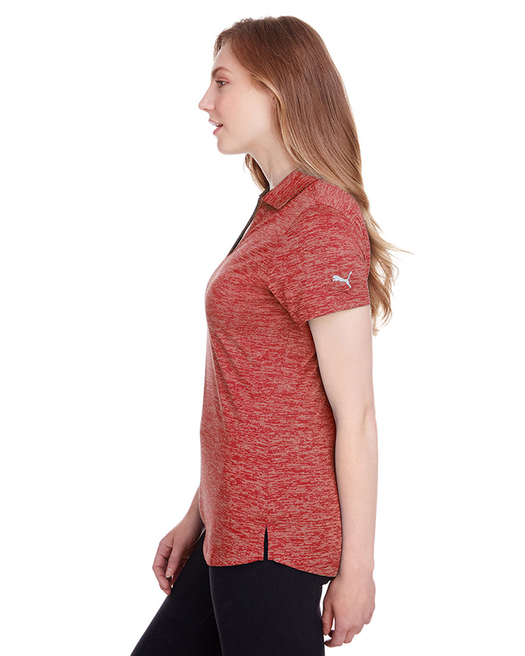 High Risk Red - side, 596802 Puma Golf Ladies' Icon Heather Polo | Blankclothing.ca