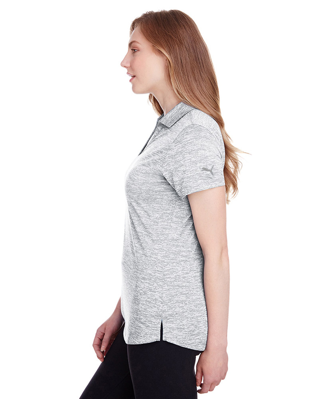 Bright White - side, 596802 Puma Golf Ladies' Icon Heather Polo | Blankclothing.ca