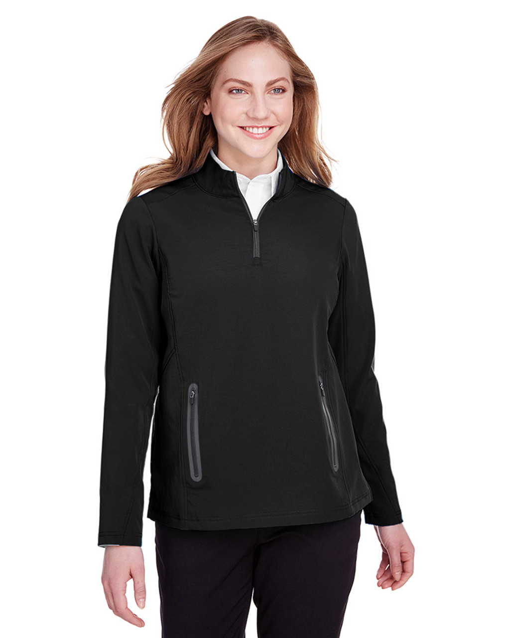 Black/Carbon - NE401W Ash City - North End Ladies' Quest Stretch Quarter-Zip Sweatshirt | Blankclothing.ca