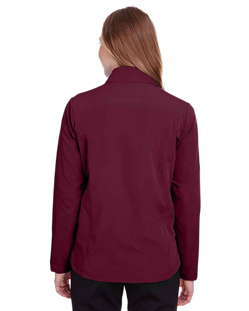 Burgundy/Olympic Blue - NE401W Ash City - North End Ladies' Quest Stretch Quarter-Zip Sweatshirt | Blankclothing.ca