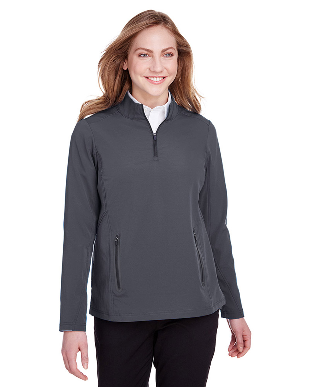 Carbon/Black - NE401W Ash City - North End Ladies' Quest Stretch Quarter-Zip Sweatshirt | Blankclothing.ca