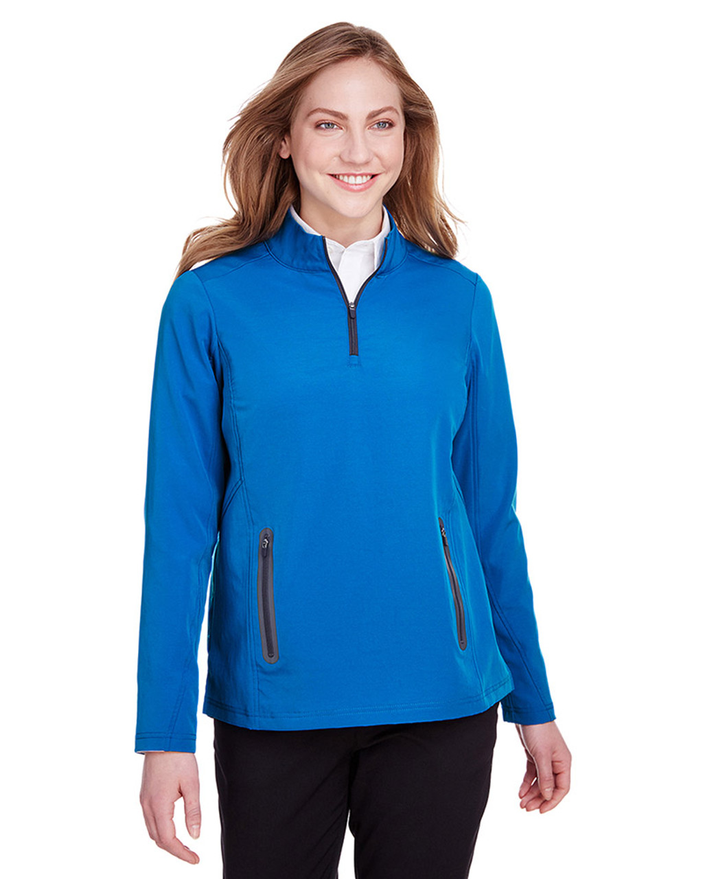 Olympic Blue/Carbon - NE401W Ash City - North End Ladies' Quest Stretch Quarter-Zip Sweatshirt | Blankclothing.ca