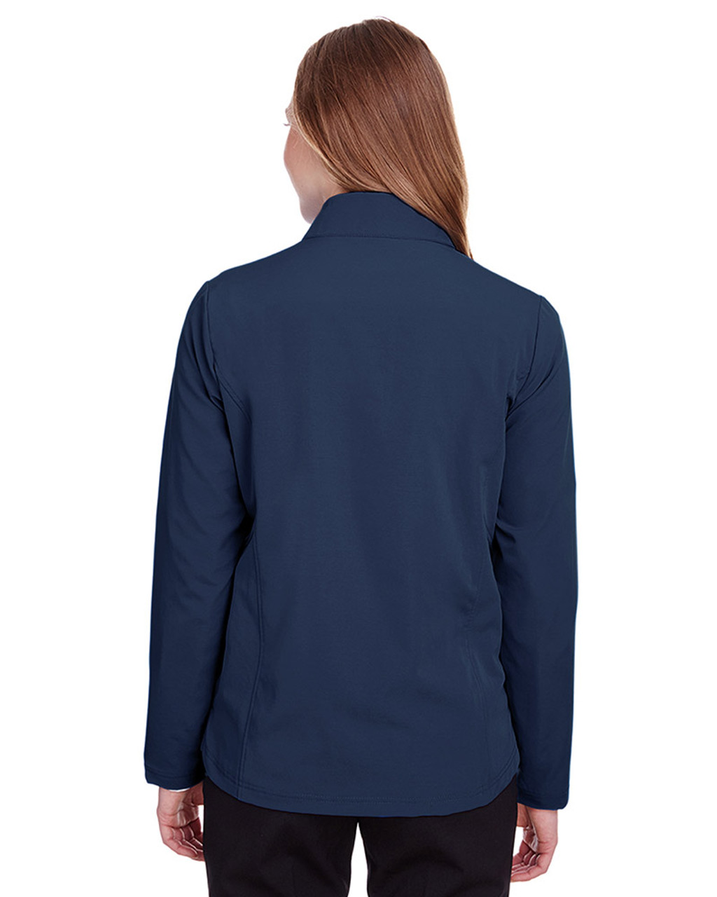 Classic Navy/Carbon - NE401W Ash City - North End Ladies' Quest Stretch Quarter-Zip Sweatshirt | Blankclothing.ca