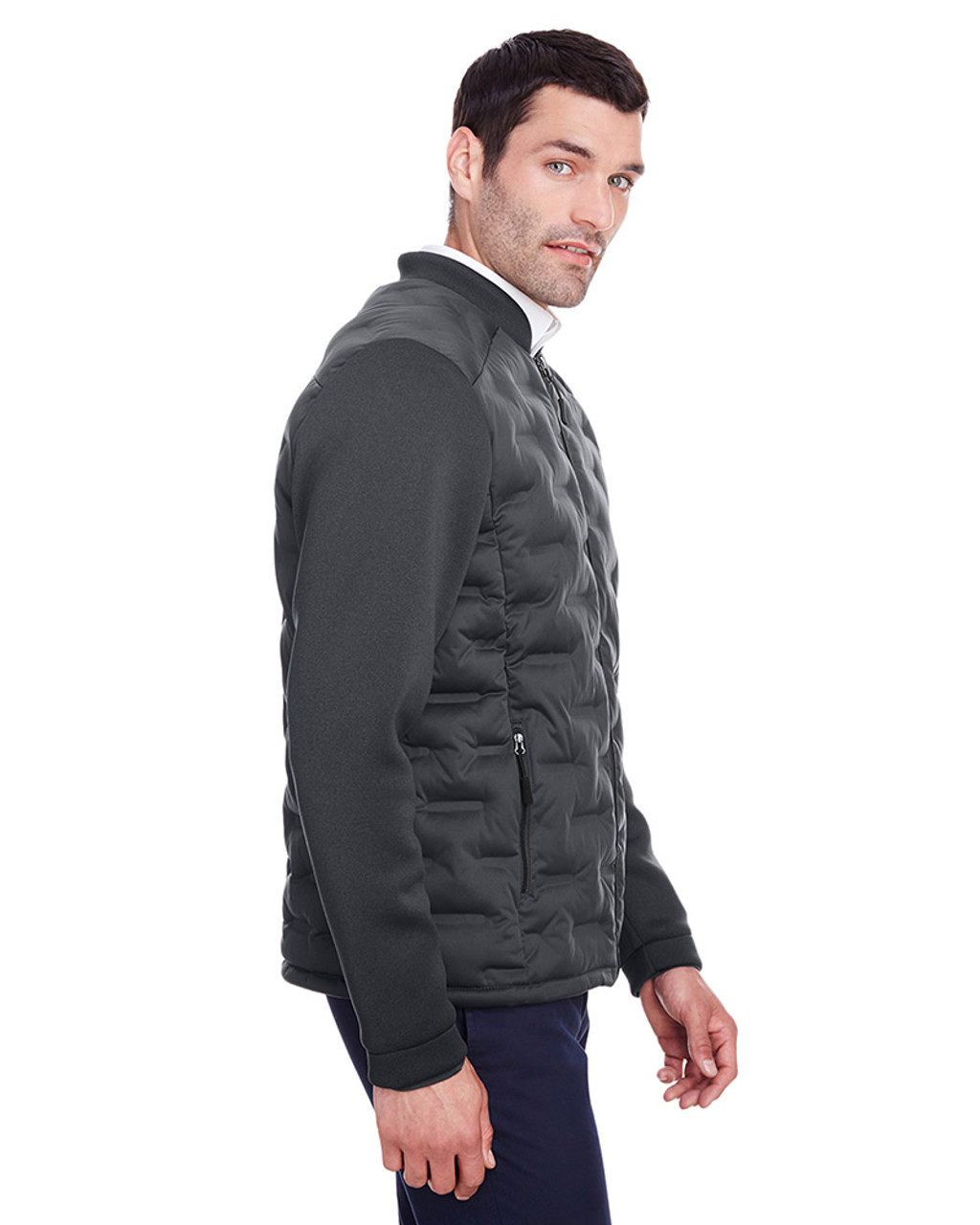 Carbon/Black Heather/Black - side, NE710 Ash City - North End Men's Pioneer Hybrid Bomber Jacket