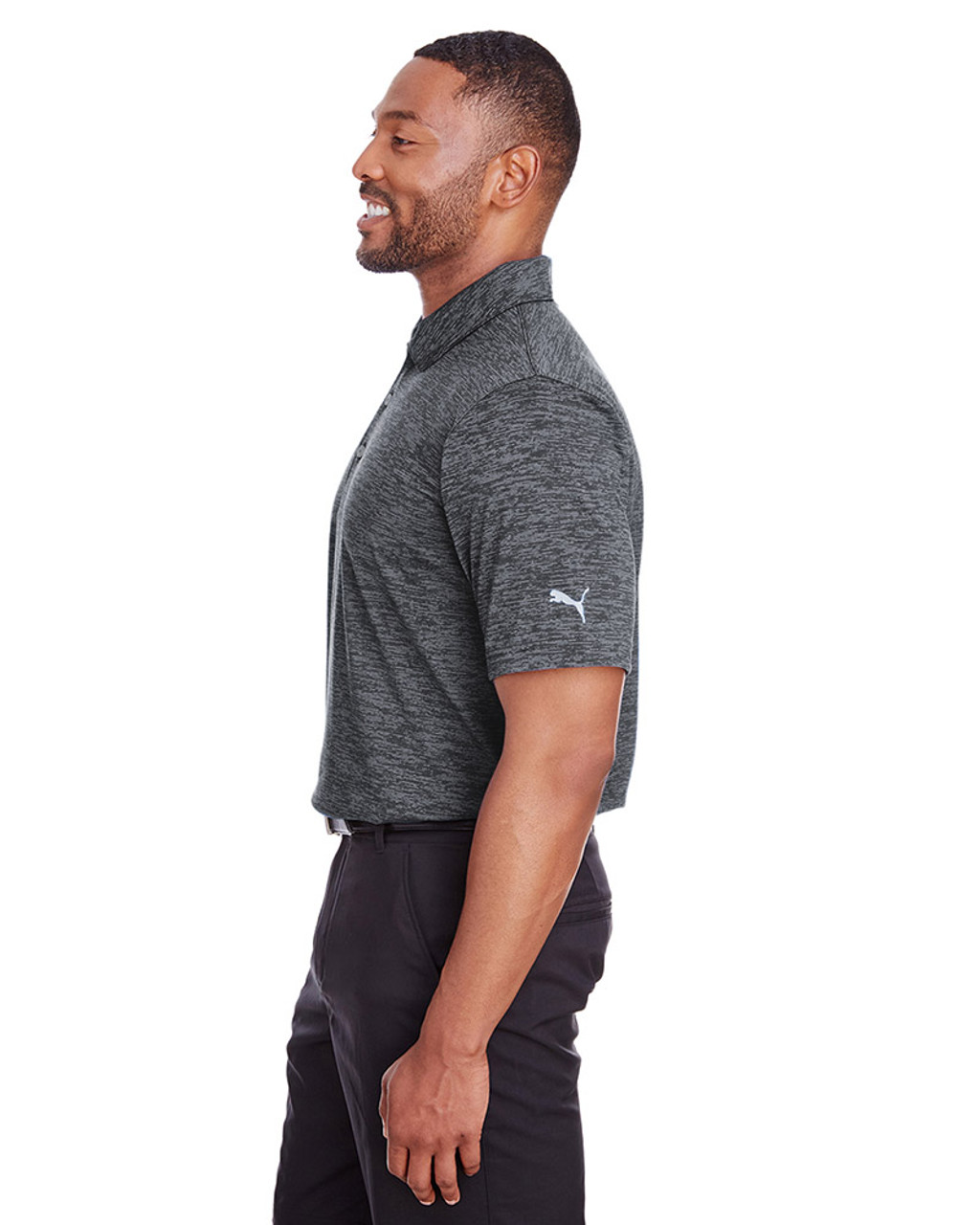 Puma Black - side, 596801 Puma Golf Men's Icon Heather Polo | Blankclothing.ca