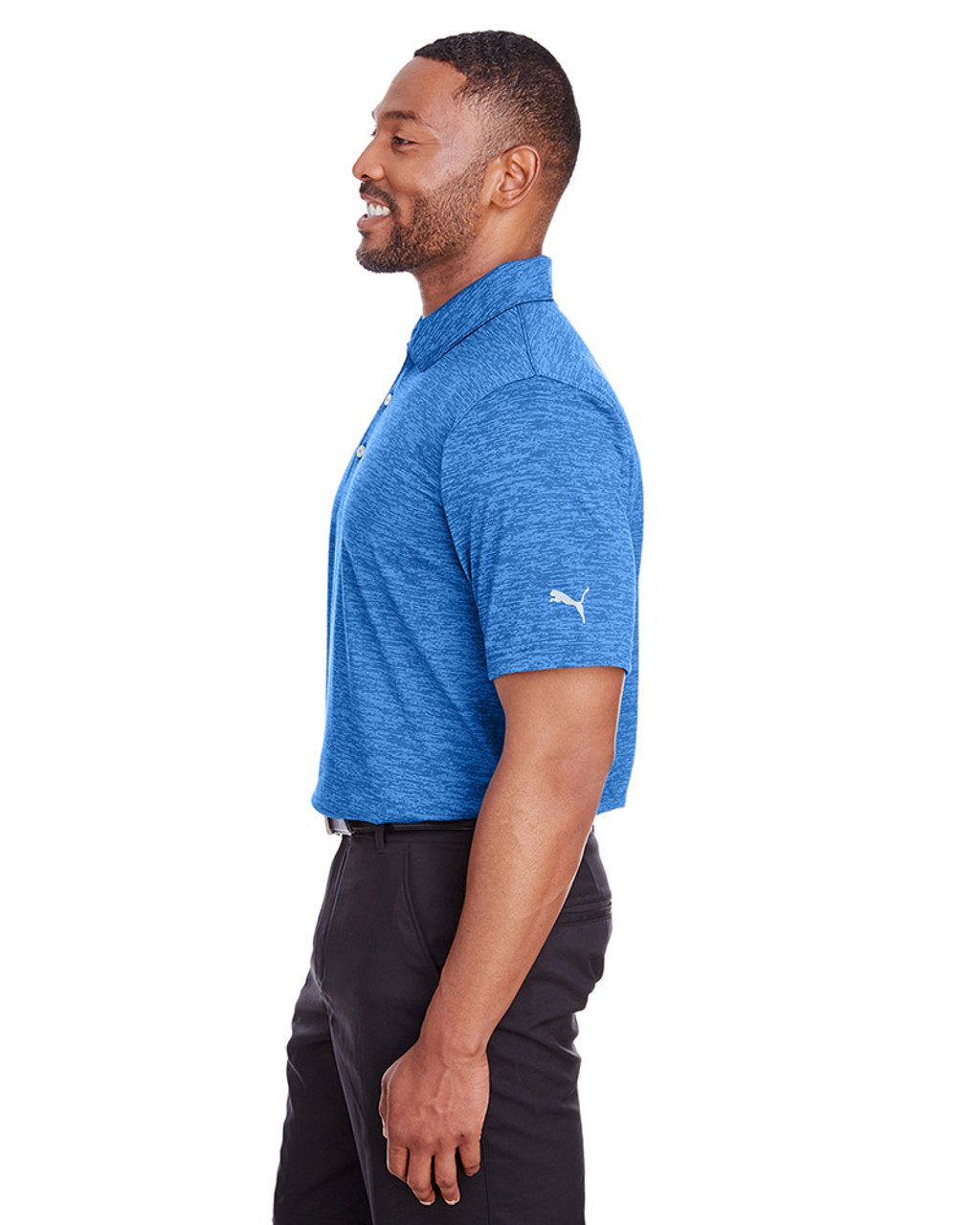 Lapis Blue - side, 596801 Puma Golf Men's Icon Heather Polo | Blankclothing.ca