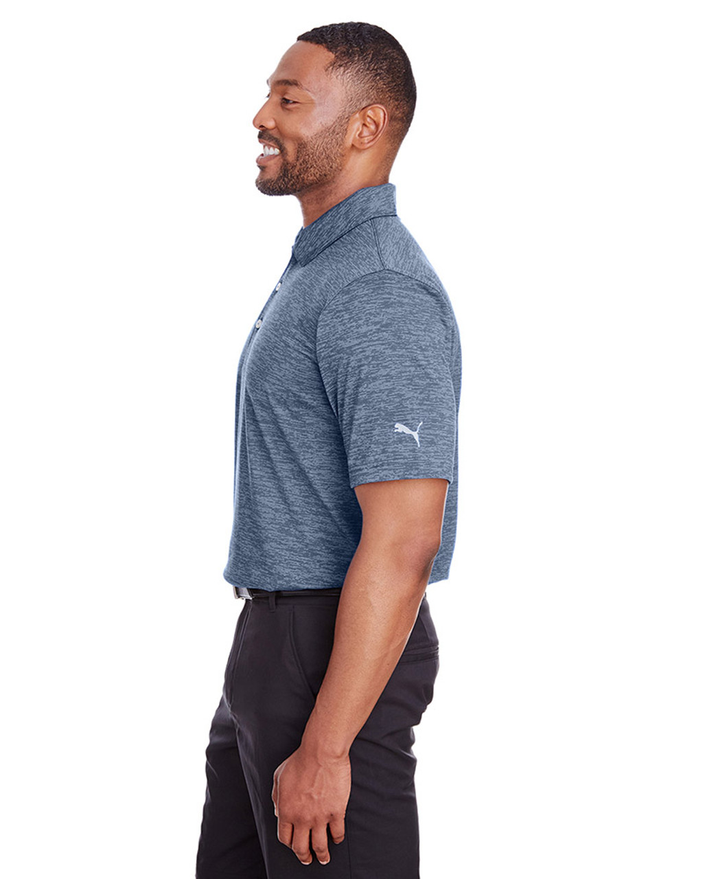 Peacoat - side, 596801 Puma Golf Men's Icon Heather Polo | Blankclothing.ca