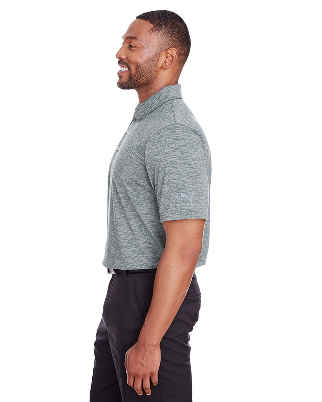 Quiet Shade - side, 596801 Puma Golf Men's Icon Heather Polo | Blankclothing.ca