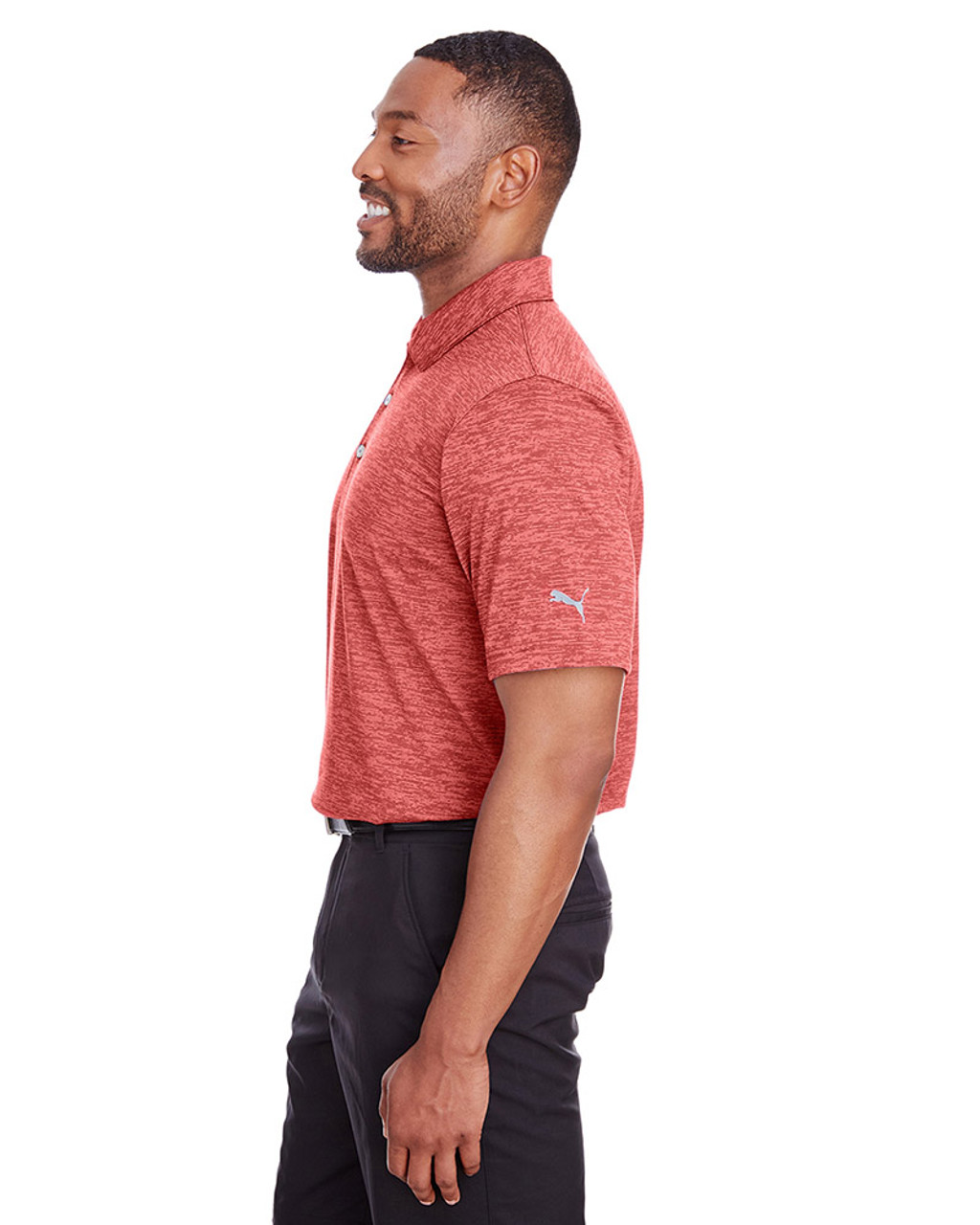 High Risk Red - side, 596801 Puma Golf Men's Icon Heather Polo | Blankclothing.ca