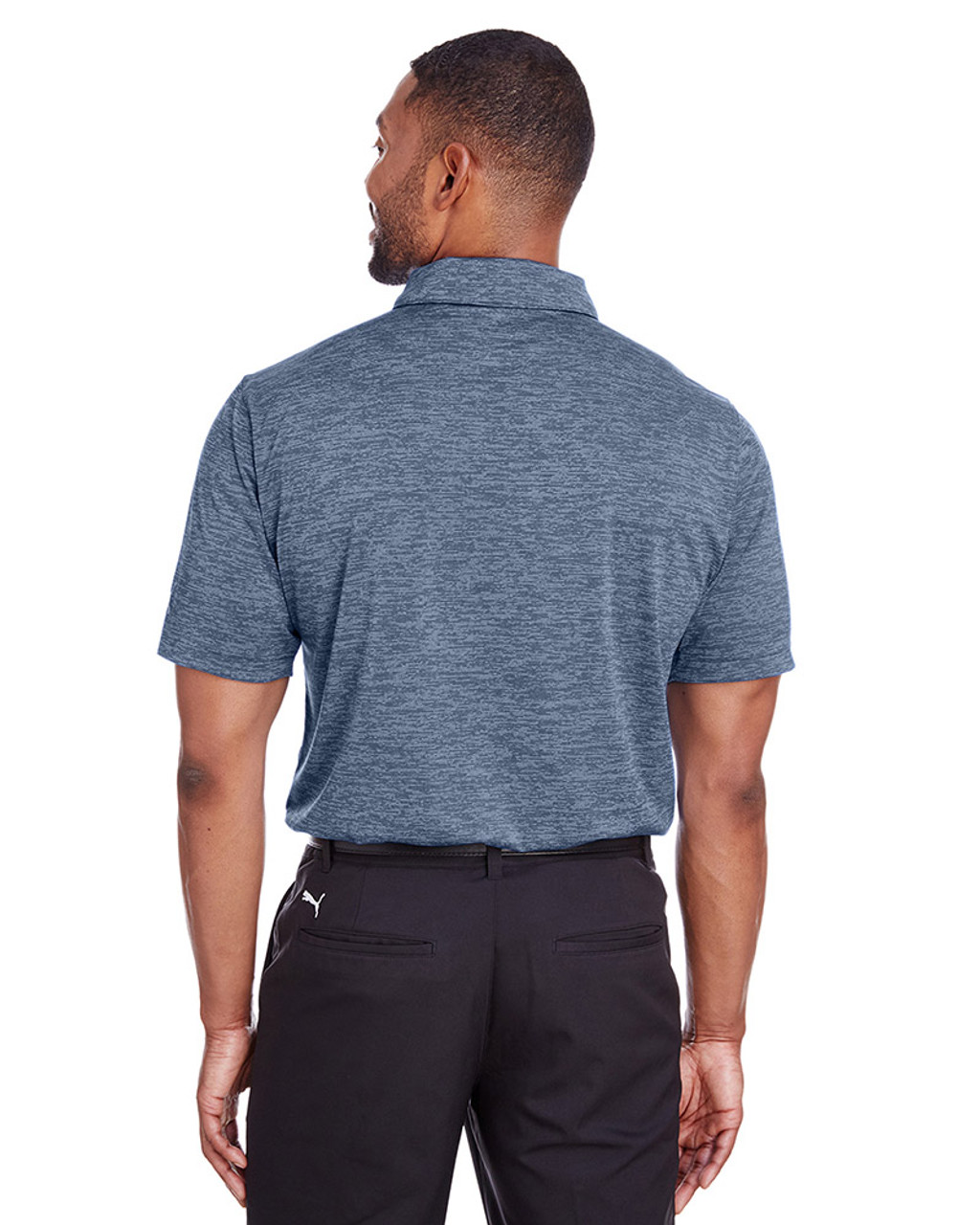 Peacoat - back, 596801 Puma Golf Men's Icon Heather Polo | Blankclothing.ca