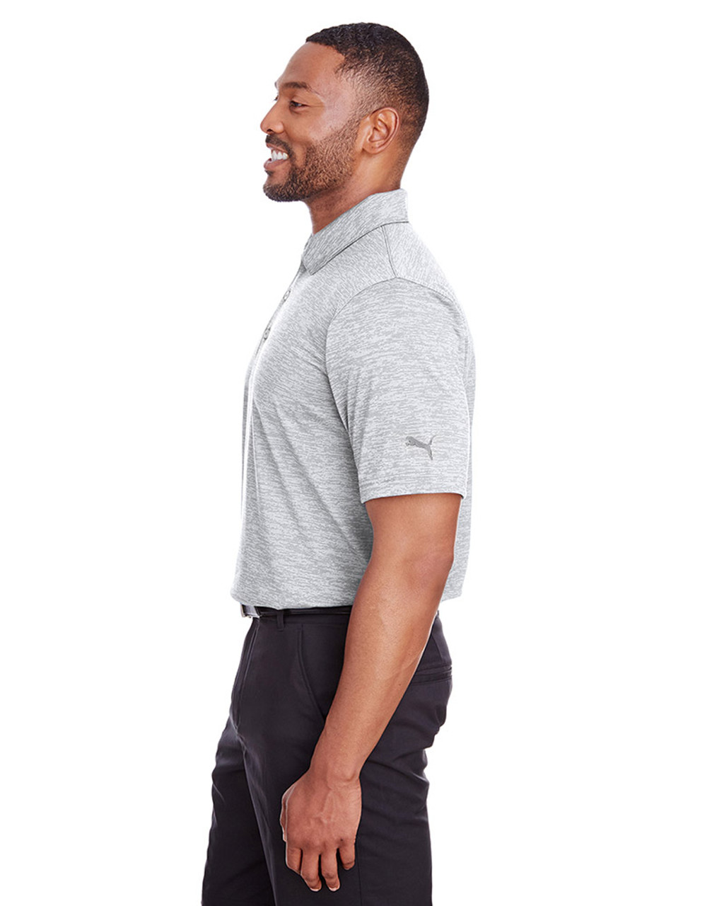 Bright White - side, 596801 Puma Golf Men's Icon Heather Polo | Blankclothing.ca