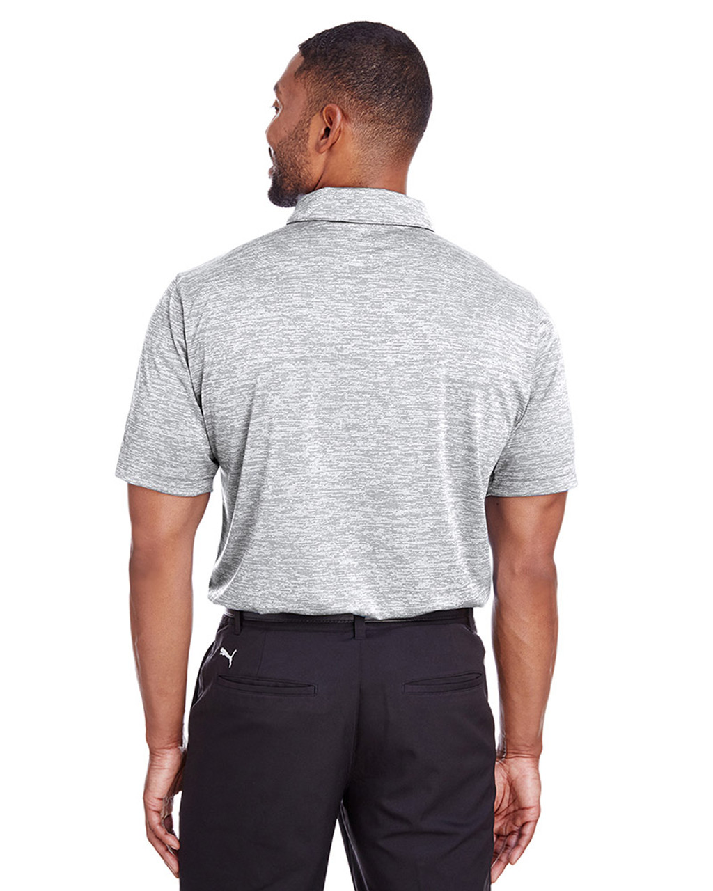 Bright White - back, 596801 Puma Golf Men's Icon Heather Polo | Blankclothing.ca